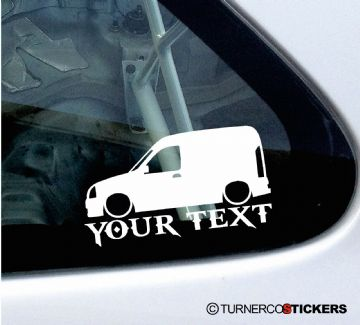 2x Custom YOUR TEXT Lowered car stickers - Renault Kangoo Van Mk1 (pre-facelift)